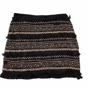 Chloe Oliver Anthropologie Fringed Beaded Skirt L
